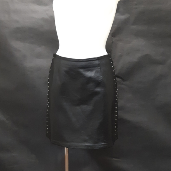 Cache Dresses & Skirts - Cache Black Leather Mini Skirt Size 2